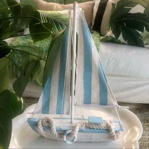 Coastal Wood Sailboat Blue White Stripe Sailcloth